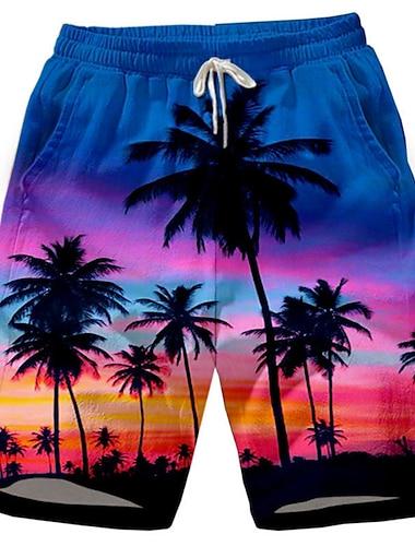 Hombre Casual Pantalones Cortos Transpirable Deportes Chinos Bermudas Corte Ancho Pantalones Plantas Paisaje Longitud de la rodilla Malla Estampado Amarillo Negro Rojo Azul Oscuro / Verano