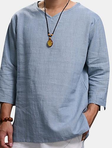 Per uomo Camicia Tinta unita Manica lunga Casuale Top Casuale Di tendenza Traspirante Comodo A V Bianco Nero Azzurro