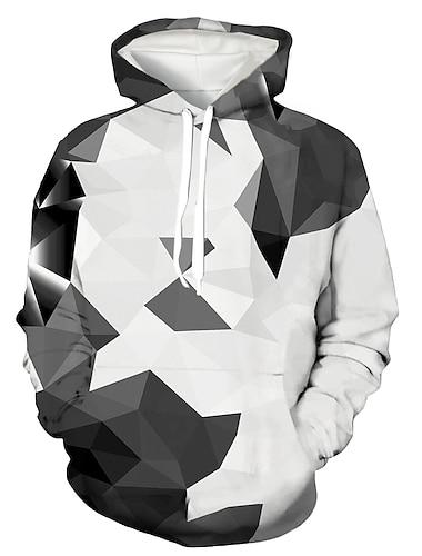 男性用 男女兼用 プルオーバーフーディースウェットシャツ 幾何学模様 フード付き 日常 3Dプリント パーカー トレーナー 長袖 ルーズ ホワイト / プラスサイズ