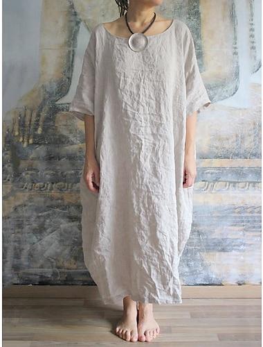 Γυναικεία Φαρδιά Μακρύ φόρεμα Λευκό Κοντομάνικο Συμπαγές Χρώμα Καλοκαίρι Καθημερινά Φαρδιά 2021 Τ M L XL XXL