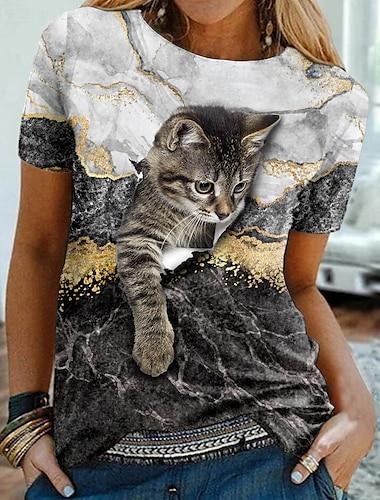 Dámské 3D kočka Obraz Tričko Kočka Grafika 3D Tisk Kulatý Základní Topy Černá