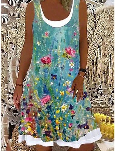 Mujer Vestido de cambio Mini vestido corto Verde Trebol Sin Mangas Floral Estampado Estampado Otono Verano Escote Barco Casual Festivos 2021 S M L XL XXL 3XL