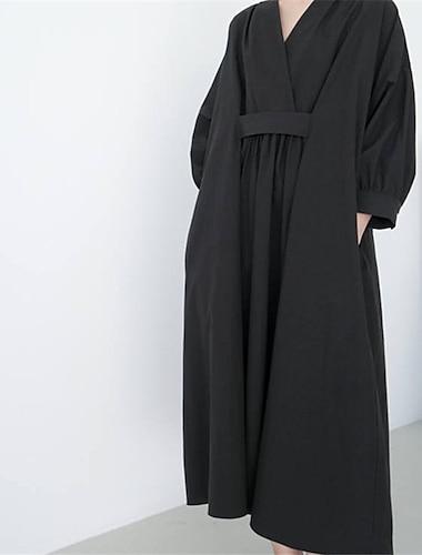 Γυναικεία Φαρδιά Μακρύ φόρεμα Μαύρο Σομόν Μακρυμάνικο Συμπαγές Χρώμα Άνοιξη Καλοκαίρι Καθημερινό 2021 Τ M L XL / Βαμβάκι / Βαμβάκι