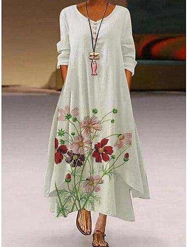 Női Swing ruha Maxi hosszú ruha Fehér Háromnegyedes Virágminta Nyomtatott Tavasz Nyár Kerek Alkalmi Szüret Napi Bő 2021 S M L XL XXL XXXL 4 XL 5 XL