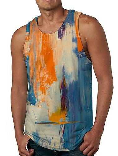 Hombre Unisexo Camiseta sin mangas Camisetas Interiores Camisa Impresion 3D Gato Estampados Pintada Tallas Grandes Estampado Sin Mangas Casual Tops Basico De Diseno Grande y alto Escote Redondo Azul