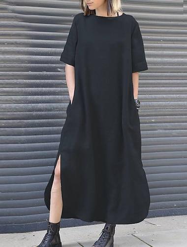 Γυναικεία Φόρεμα ριχτό Μακρύ φόρεμα Κόκκινο Κρασί Πράσινο του τριφυλλιού Μαύρο Σομόν Σκούρο μπλε Μισό μανίκι Συμπαγές Χρώμα Σκίσιμο Τσέπη Άνοιξη Καλοκαίρι Στρογγυλή Λαιμόκοψη Κομψό Βίντατζ Αργίες