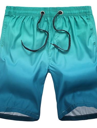 Hombre Casual Pantalones Cortos Transpirable Deportes Chinos Bermudas Corte Ancho Festivos Pantalones Degradado Longitud de la rodilla Malla Estampado Negro / Blanco Azul oscuro / Rojo Naranja Negro