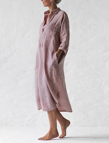 Γυναικεία Φόρεμα σε γραμμή Α Μακρύ φόρεμα Μπλε Απαλό Ανθισμένο Ροζ Μακρυμάνικο Συμπαγές Χρώμα Σκίσιμο Τσέπη Κουμπί Φθινόπωρο Άνοιξη Κολάρο Πουκαμίσου Καθημερινό Φαρδιά 2021 Τ M L XL XXL XXXL