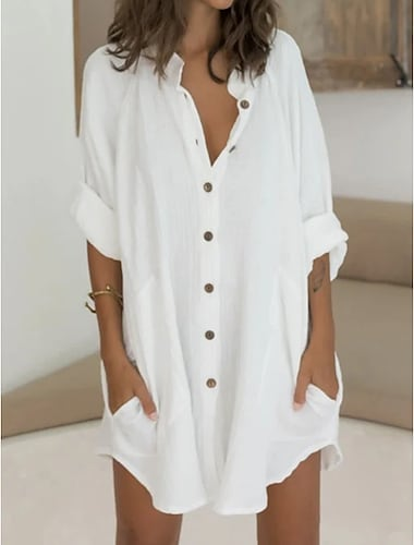 Women\'s Shirt Dress Short Mini Dress Green White Long Sleeve Solid Color Pure Color Split Patchwork Button Spring Summer Shirt Collar Casual Modern Holiday Beach Loose 2021 M L XL 2XL 3XL / Cotton