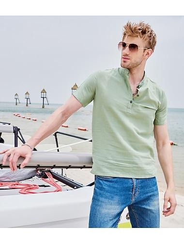 Per uomo Camicia Tinta unica Manica corta Strada Top Cotone Casual / quotidiano Traspirante Comodo Henley Blu chiaro Giallo Verde / Spiaggia