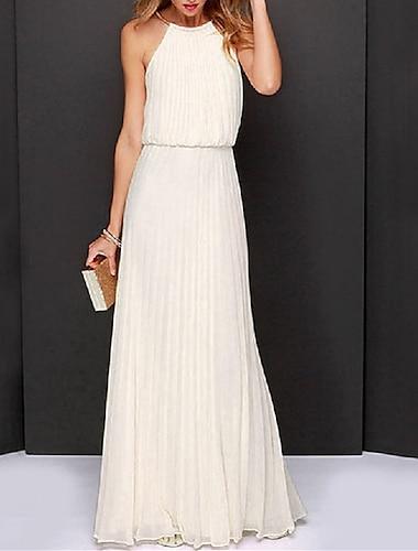 Γυναικεία Φόρεμα ριχτό από τη μέση και κάτω Μακρύ φόρεμα Ανθισμένο Ροζ Κρασί Λευκό Μαύρο Μπλε Απαλό Αμάνικο Συμπαγές Χρώμα Σουρωτά Κουρελού Άνοιξη Καλοκαίρι Δένει στο Λαιμό Πάρτι Κομψό Εξόδου 2021