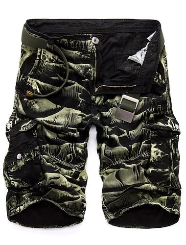 Homme Cargaison Decontracte / Sport Chino Pantalon cargo Coton du quotidien Des sports Pantalon Camouflage Couleur unie Court Rouge / Ete