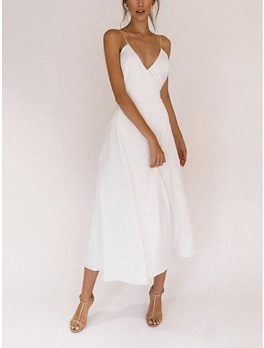 Γυναικεία Φόρεμα σε γραμμή Α Μακρύ φόρεμα Λευκό Αμάνικο Συμπαγές Χρώμα Άνοιξη Καλοκαίρι Καθημερινό 2021 Τ M L XL XXL