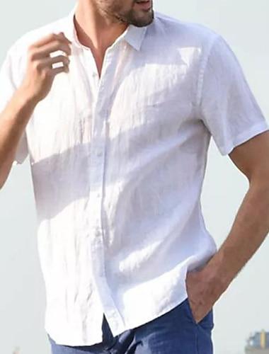 Hombre Camisa Un Color Abotonar Manga Corta Casual Tops Casual Moda Transpirable Comodo Azul Piscina Gris Verde Trebol