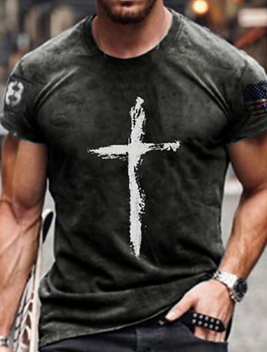 Муж. Футболки Футболка Рубашка 3D печать Графика Крест Большие размеры С короткими рукавами Повседневные Верхушки Классический Оригинальный рисунок Облегающий крой Большой и высокий