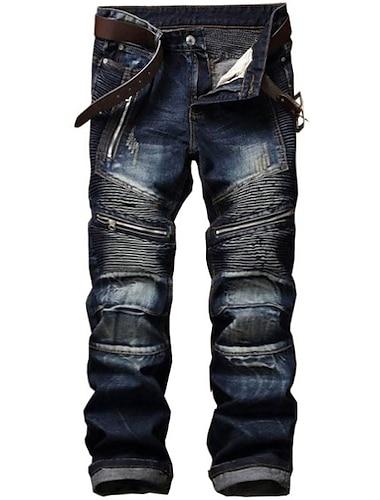 pánské retro zoufalý zip skládané džíny odolné proti opotřebení