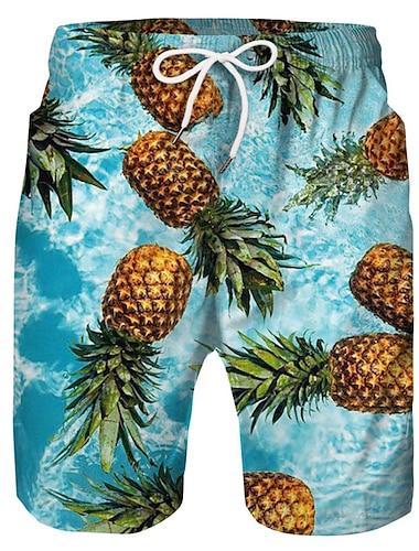 Hombre Casual Pantalones Cortos Chinos Bermudas Corte Ancho Diario Festivos Pantalones Fruta Longitud de la rodilla Malla Estampado Azul Piscina Arco Iris Blanco / Primavera