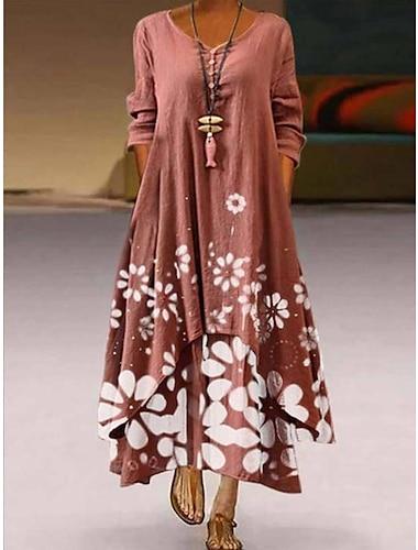 Női Swing ruha Maxi hosszú ruha Medence Arcpír rózsaszín Lóhere Hosszú ujj Virágos Nyomtatott Zseb Kollázs Gomb Ősz Tavasz Kerek Alkalmi 2021 S M L XL XXL XXXL 4 XL 5 XL