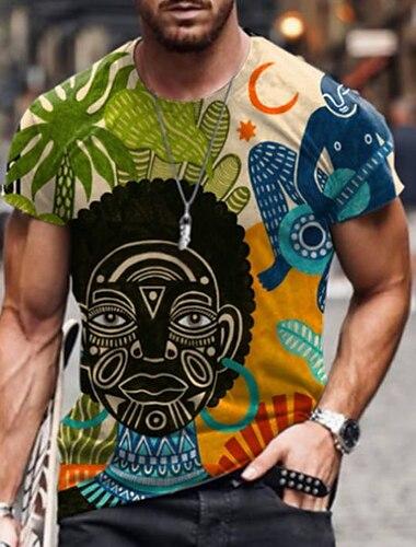 男性用 Tシャツ シャツ 3Dプリント グラフィック スカル 人間 プリント 半袖 日常 トップの カジュアル デザイナー 大きくて背が高い ラウンドネック イエロー レインボー グレー / 夏