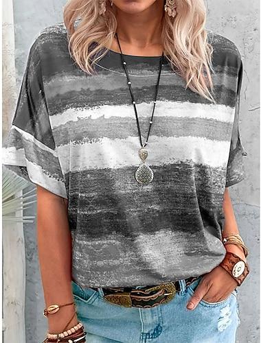 여성용 페인팅 T 셔츠 줄무늬 컬러 블럭 타이-다이 프린트 라운드 넥 베이직 탑스 퍼플 옐로우 그레이