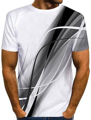 Men\'s T shirt Shirt 3D Print Graphic Print Short Sleeve Daily Tops Streetwear Round Neck Blue Red Gray