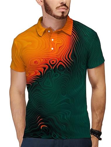 Homens Camisa de golfe Camisa de tenis Impressao 3D Totem Botao para baixo Manga Curta Rua Blusas Casual Moda Legal Amarelo / Esportes