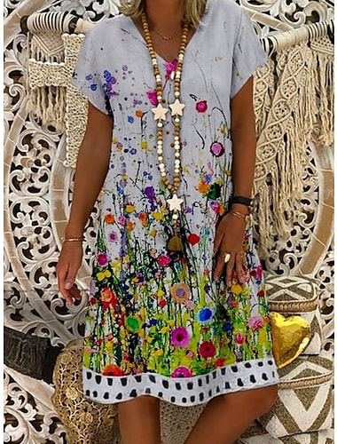 Női Váltó ruha Térdig érő ruha Fehér Rövid ujjú Nyomtatott Nyomtatott Nyár V-alakú Alkalmi 2021 M L XL XXL 3XL