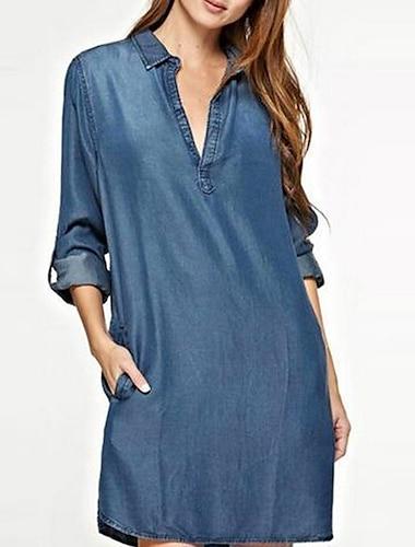 Γυναικεία Φόρεμα πουκαμίσα Φόρεμα μέχρι το γόνατο Μπλε Απαλό Βαθυγάλαζο Μακρυμάνικο Συμπαγές Χρώμα Άνοιξη Καλοκαίρι Καθημερινά 2021 Τ M L XL XXL XXXL 4XL 5XL