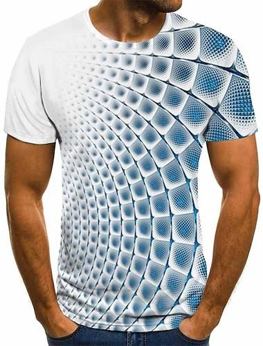 Bărbați Tricouri Tricou Cămașă Tipărire 3D Carou Grafic #D Manșon scurt Petrecere Topuri De Bază Comfortabil Mare si inalt Rotund Albastru Lac Albastru Cobalt Albastru piscină
