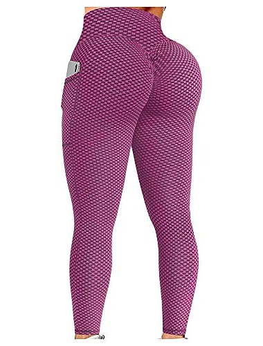 tik tok leggings plus size, women\'s textured booty yoga pants high waist ruched butt lifting tummy control yoga tights
