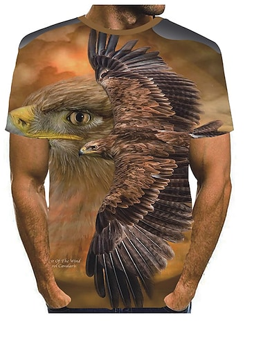 Men\'s Tee T shirt 3D Print Graphic Eagle Print Short Sleeve Party Tops Basic Designer Exaggerated Round Neck Blue Yellow Light Brown