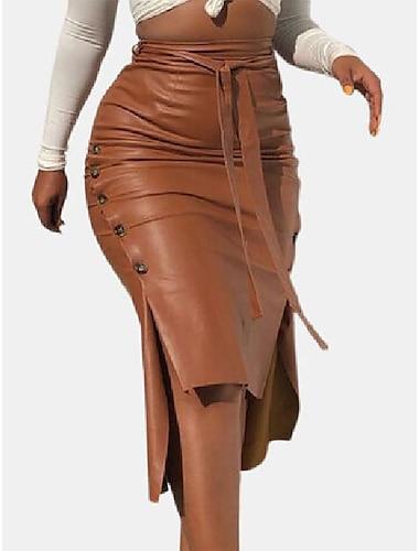 vázaná kožená rozparka sukně