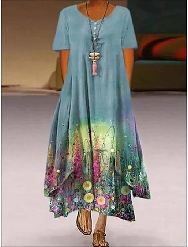 Női A vonalú ruha Maxi hosszú ruha 1. kép 6. képszín 2. kép 3. kép 4. kép 5. kép Rövid ujjú Minta Nyár Alkalmi 2021 S M L XL XXL XXXL 4 XL 5 XL