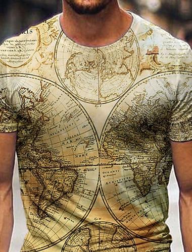 Tee T-shirt Chemise Homme 3D effet Graphique Carte Mer Grandes Tailles Manches Courtes Decontracte Quotidien Fin de semaine Standard Polyester basique Designer Coupe Cintree Col Ras du Cou / Ete