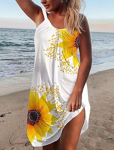 Γυναικεία Φόρεμα με λεπτή τιράντα Μίνι φόρεμα Αμάνικο Ηλιοτρόπιο Στάμπα Καλοκαίρι Καθημερινό Αργίες Εξόδου Φαρδιά 2021 Τ M L XL XXL