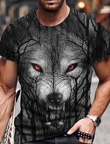 Tee T-shirt Chemise Homme 3D effet Imprimes Photos Loup Rose Imprime Manches Courtes Quotidien Vacances Standard Polyster Simple Designer Grand et grand Col Rond / Ete