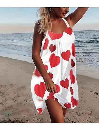 Women\'s Strap Dress Short Mini Dress Sleeveless Flower LOVE Print Spring Summer Halter Neck Casual Beach Loose 2021 S M L XL XXL