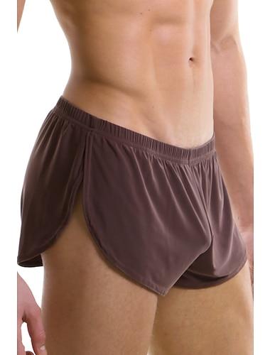 בגדי ריקוד גברים בסיסי תחתונים סקסיים תחתונים סטרצ\'י (נמתח) מותן נמוך חלק 1 אפור S