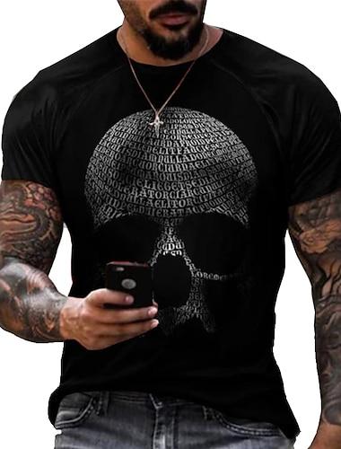 Tee T-shirt Homme 3D effet Imprimes Photos Cranes Imprime Manches Courtes Quotidien Vacances Standard Polyester Simple Designer Grand et grand Col Rond / Ete