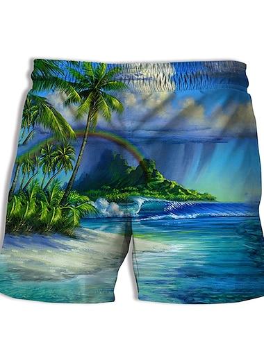 Hombre Casual De Diseno Secado rapido Transpirable Bermudas Pantalones de Surf Playa Piscina Pantalones Estampados Paisaje Arbol de coco Corto Impresion 3D Correa Cintura elastica Azul Piscina