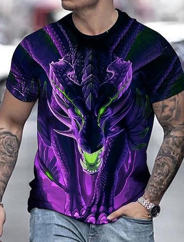 Hombre Tee Camiseta Camisa Impresion 3D Dragon Estampados Estampado Manga Corta Diario Tops Casual De Diseno Grande y alto Morado