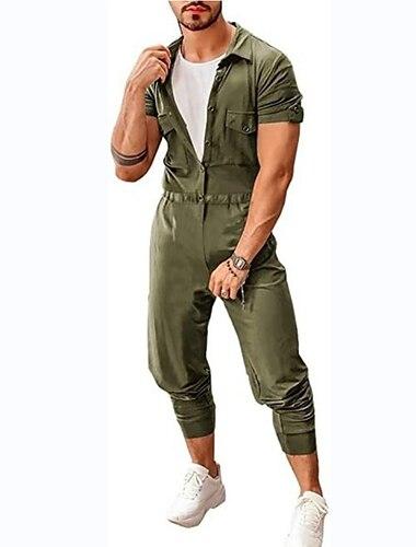 Herr Ledigt / vardag Företagskläder Snörning Vit Armégrön Svart Jumpsuits Enfärgad Knapp