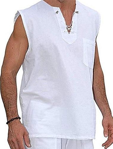 Per uomo Camicia Tinta unita A cordoncino Senza maniche Casuale Top Cotone Casuale Di tendenza Traspirante Comodo A V Cachi Bianco Nero