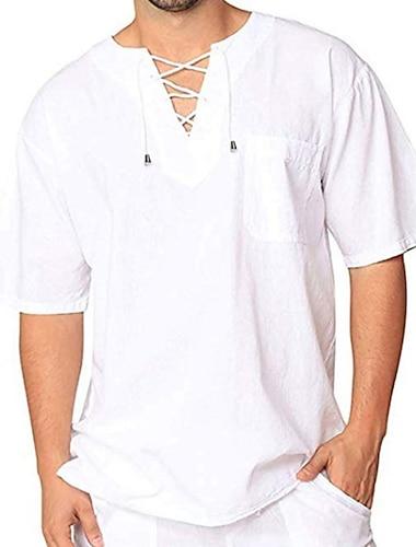 Homens Camisa Social Solido Com Cordao Manga Curta Casual Blusas Algodao Casual Moda Respiravel Confortavel Decote Redondo Caqui Branco Preto