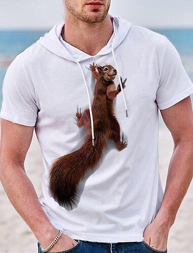 Herre Unisex T-Shirts T-shirt Skjorte Varm Stempling Grafiske tryk Egern Plusstørrelser Kortærmet Afslappet Toppe Bomuld Basale Designer Stor og høj Hvid