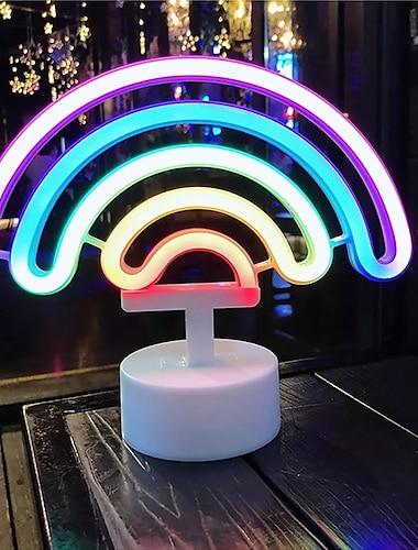 Neon LED Night Light USB or Battery Powered Rainbow LED Neon Light Christmas Wedding Room Home Decoration Neon Sign LED Table Lamp