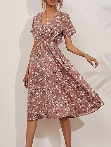 여성용 스윙 드레스 미디 드레스 큰 빨간 숨겨진 블랙 옐로우 블러슁 핑크 화이트 라이트 그린 네이비 블루 짧은 소매 플로럴 주름 잡힌 프린트 봄 여름 V 넥 캐쥬얼 보호 홀리데이 2021 S M L XL / 루즈핏