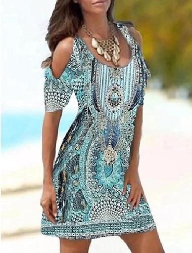 Γυναικεία Φόρεμα σε γραμμή Α Μίνι φόρεμα Θαλασσί Πράσινο του τριφυλλιού Ροδοκόκκινο Κοντομάνικο Μοτίβο Στάμπα Άνοιξη Καλοκαίρι Στρογγυλή Λαιμόκοψη κρύος ώμος Καθημερινό 2021 Τ M L XL XXL 3XL / Αργίες