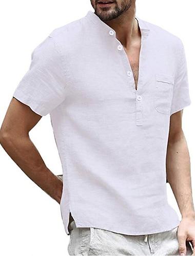 Homens Camisa Social nao imprimivel Cor Solida Manga Curta Casual Blusas Simples Leve Confortavel Branco Preto Caqui