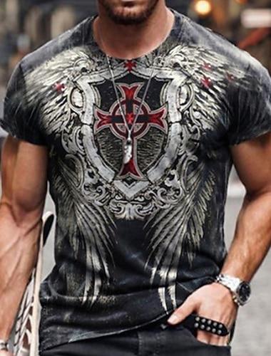 Pánské Trička Tričko Košile 3D tisk Grafika Haç Větší velikosti Krátký rukáv Ležérní Topy Základní Designové Úzký střih Velký a vysoký Černá